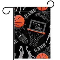 ガーデンサイン庭の装飾屋外バナー垂直旗バスケットボールブラック オールシーズンダブルレイヤー