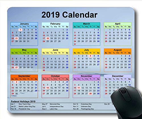 2019 Kalender-Mauspad-Tastatur, Kalendertisch Gaming-Mauspads, Kalenderplaner 2019 mit Feiertagsdetails
