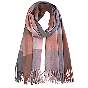 SOJOS Classic Plaid Tartan Cashmere Scarf for Women Men Soft Check Tassel Scarves SC316
