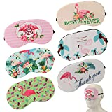 AKWOX 6er Set Damen Schlafmaske, Flamingo Schlafen Maske als Geschenk für Geburtstagsfeier Übernachtungsparty (Leicht&Weich)