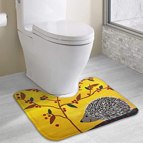 Tappeto da bagno Happy Hedgehog Under Tree Contour, tappetino da bagno antiscivolo in poliestere a forma di U per WC