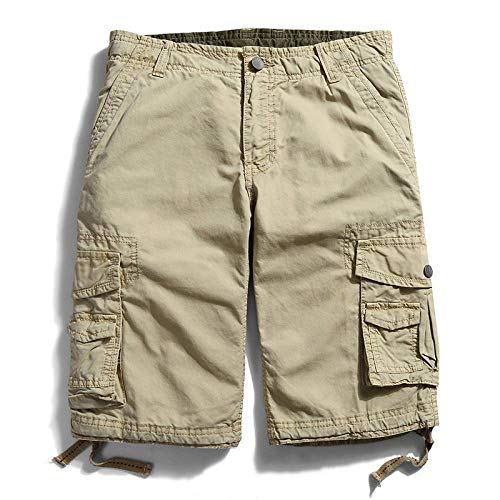 Pantalones Cortos Deportivos Solid Outdoor Cargo Shorts Men Cotton Casual Summer Mens Shorts New Multi-Pocket Military Bermuda Men's Shorts 40 Lightkhaki