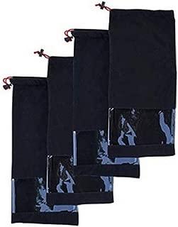 鞋储物旅行袋 * 纯棉抽绳和透明窗 黑色(4 件套)