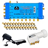UHD Quattro LNB + Multiswitch pmse HB-DIGITAL per Full HDTV 3D 4K UHD con alimentatore di rete + spina F dorata