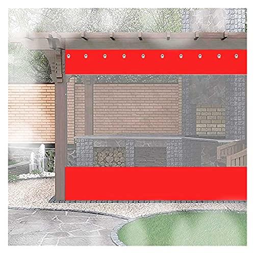 KUAIE Toldo Transparente Lona Plástico Transparente Resistente Al Clima con Ojales Lona Impermeable Exterior for Pérgola, Porche (Color : Clear Red, Size : 3x2m)