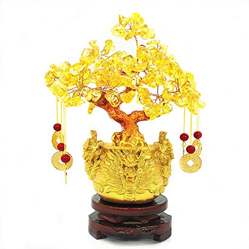 Colorsheng Feng Shui Citrine Quartz Crystal Money Tree Bonsai Style Decoration for Luck and Wealth (Dragon pots)