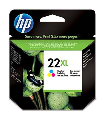 HP 22XL C9352CE, Tricolor, Cartucho de Tinta de Alta Capacidad Original, compatible con impresoras de inyección de tinta HP Deskjet D1530, D1560, D2360, D2460, F2290, F335, F2180, F380, F390, F4180