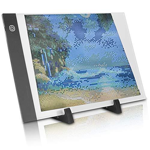 Crisist Almohadilla De Luz LED A4, Herramientas De Pintura De Diamante Alimentadas por USB Almohadillas De Pintura A4 Ajustables 6 Piezas para Pintura De Diamante para La Industria De La Animación