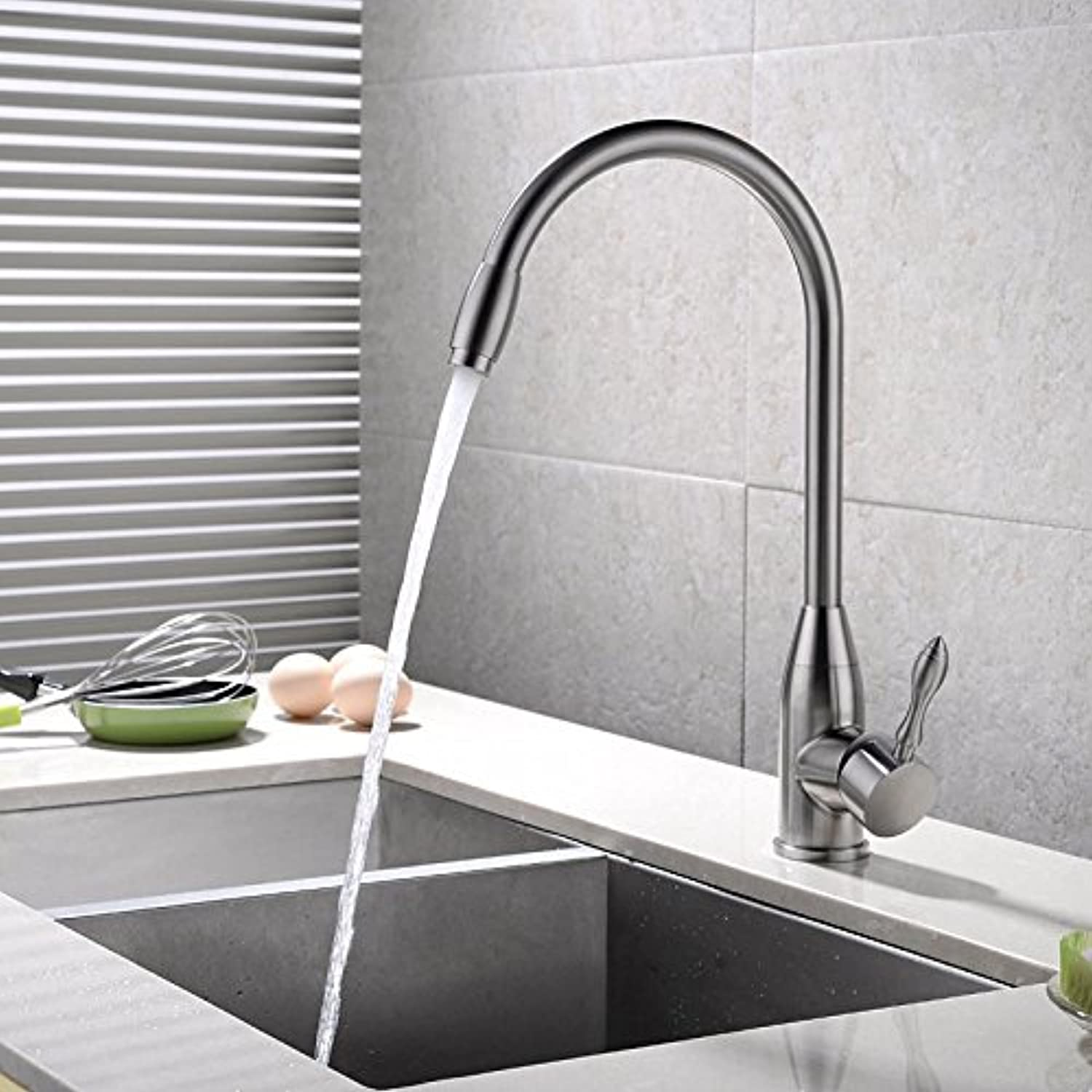 Commercial Single Lever Pull Down Kitchen Sink Faucet Brass Constructed Polished Kitchen Stainless Steel Faucet Sink Hot and Cold Bathroom Basin redating Sink Brushed