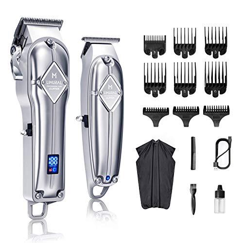 Limural Haarschneidemaschine für Männer + T-Klingen-Trimmer-Kit für schnurloses Nahschneiden, professionelles Haarschneide-Kit Bartschneider Barbers Men Clipper Set Wiederaufladbares Pflege-Kit