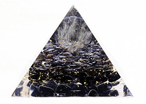 Pirámide de orgonita con de protección EMF hecha a mano para curar con oro y cristal obsidiana negra turmalina cuarzo