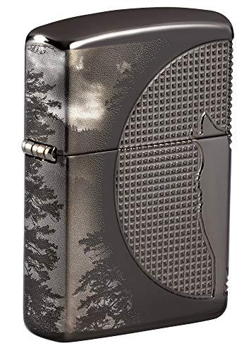 Zippo Pocket Lighter Feuerzeug, Armor Black Ice Wolf Moon Design, Einheitsgröße