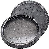 FANDE Quiche Tart Pan, Molde para Quiches y Tarta, Molde de Horno Rizado Perforado - Base Desmontable - Recubrimiento Antiadherente - Diámetro 14 cm