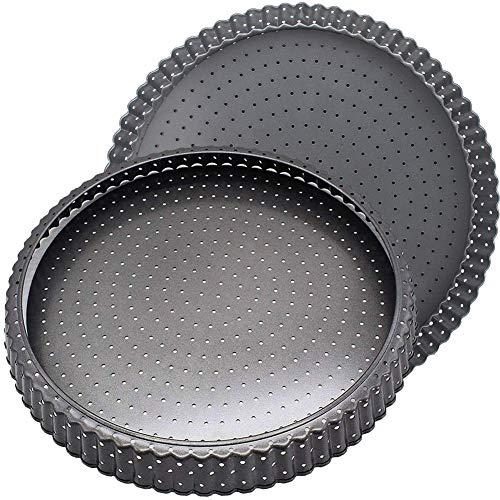 FANDE Teglia crostata per Pizza Quiche, 2Pcs Teglia Rotonda da Forno Antiaderente Traforata Stampo Fondo Removibile apribile Diametro 14cm Rotonda Padella