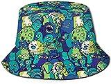 Zharkli - Sombrero de cubo con diseño de monstruos y alienígenas para el sol, sombrero de pescador al aire libre, protección UV, plegable, ligero,...
