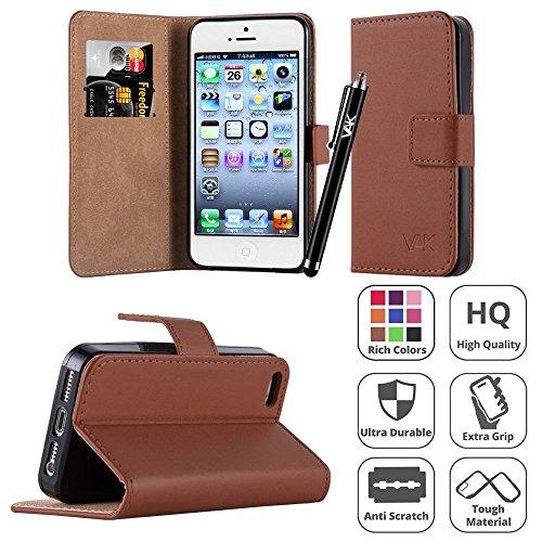 Iphone SE zachte lederen portemonnee boek afdekking hoes voor Apple iPhone Se + displaybeschermfolie + stylus By Panaaz