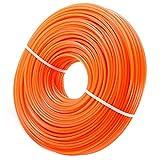 Bobine de Fil Nylon Rond pour Coupe-bordure, Fil de Coupe de Remplacement Ligne de Trimmer Universal pour débroussailleuse 2,4mm x 100m, Orange