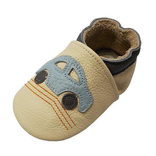 YALION Premium Weich Leder Babyschuhe Krabbelschuhe Lauflernschuhe Hausschuhe mit Auto Beige, EU 22/23=L