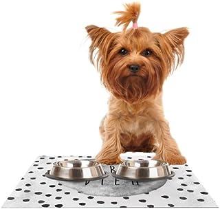 Kess InHouse Vasare Nar Carpe Diem Quote Gray Feeding Mat for Pet Bowl, 24 by 15-Inch