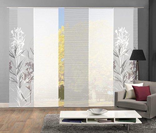 Vision S 95653-0307 | 5er-Set Schiebegardine SEMORA | halb-transparenter Stoff in Bambus-Optik | 5X 260x60 cm | Farbe: Grau