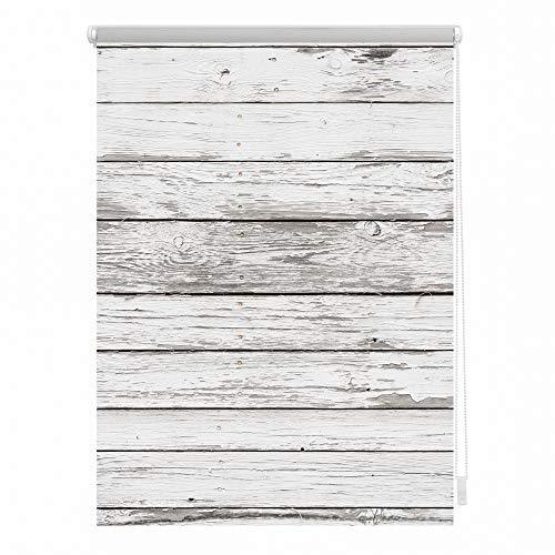 Lichtblick KRV.080.150.304 Rollo Klemmfix, ohne Bohren, Verdunkelung, Bretter-Vintage Weiß, 80 x 150 cm
