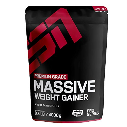 ESN Massive Weight Gainer - 4000g - Vanilla Ice Cream - vollwertiges Kohlenhydrat-Protein-Pulver – wertvolle Zutaten – 26 bis 40 Portionen – Made in Germany