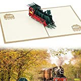NALCY Creativo 3D Biglietto di auguri' treno' -3D pop up Biglietti di auguri,Adatto per compleanno, anniversari,benedizioni, affari e saluti
