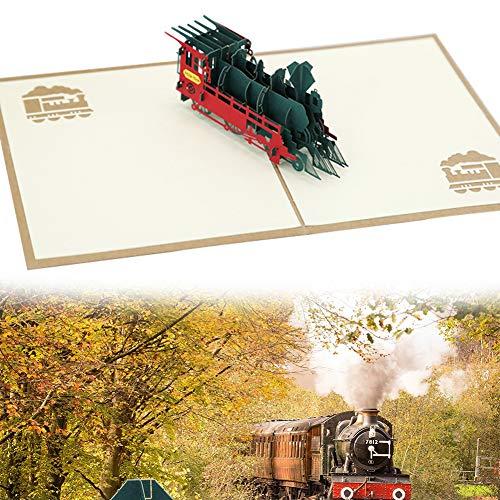 NALCY Pop Up KarteEisenbahn - Lokomotive, 3D Geburtstagskarte mit Dampflok, Bahn Geschenkidee, Karte zum Geburtstag, Reisegutschein, Bahnreise