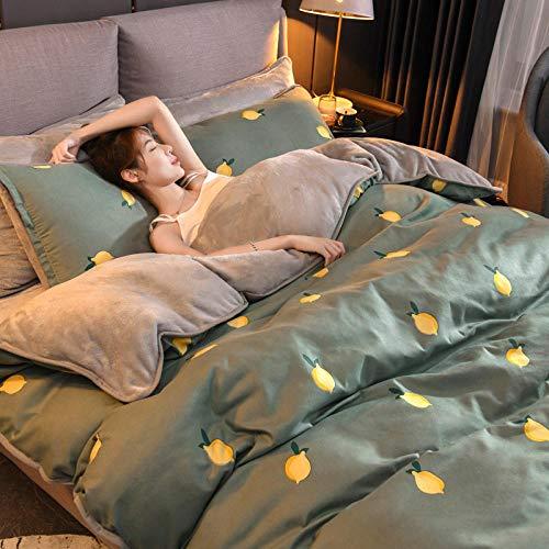 juego de funda nórdica 260x240-Juego de cuatro piezas de terciopelo de cristal de franela de algodón y terciopelo para mantener el calor del dormitorio de los estudiantes sábana funda de almohada rop