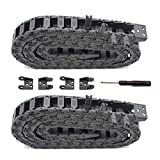 Befenybay 2PCS R18 Internal Size 10X15mm 1Meter Length Black Plastic Flexible Drag Chain Cable Wire Carrier Open Type for 3D Printer and CNC Machines (10mmX15mm-Outside Open)