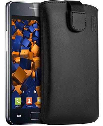 mumbi Echt Ledertasche kompatibel mit Samsung Galaxy S2 / S2 Plus Hülle Leder Tasche Case Wallet, schwarz