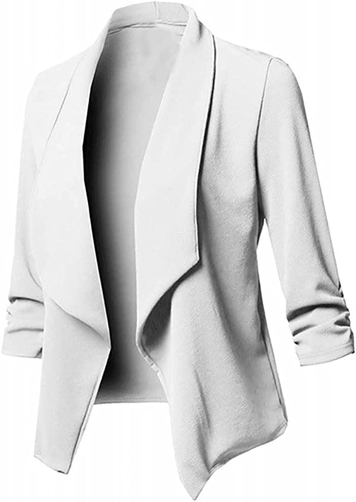Women Casual Work Office Blazers Pockets Buttons Solid Open Front Pockets Long Sleeve Suits Jackets Blouse Coat S-5XL