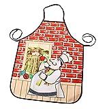 Delantal De Dibujos Animados Divertido Chef Gordo Lindo Impermeable Y A Prueba De Aceite Cocina del Hogar Cocina Tareas Domésticas Delantal Femenino Adecuado para Restaurante Cocina De Hotel