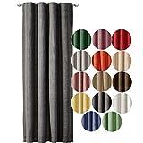 JEMIDI Tenda decorativa effetto lino con nastro arricciato, 140 cm x 245 cm, oscurante, per finestra, grigio scuro