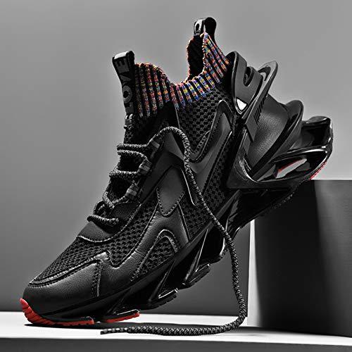 FFZW Moda Running Zapatos Hombre Deporte Zapatillas Transpirable Cómodas Walking Calzado,Negro,41EU