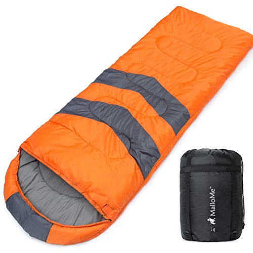MalloMe Single Camping Sleeping Bag - 4 Season Warm Weather and Winer, Lightweight, Waterproof - Great for Adults & Kids - Excellent Camping Gear Equipment, Traveling, and Outdoor Activities