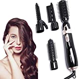 Hair Dryer Brush Hot Air Brush Set, Negative Ionic Fast Heating Styler, Blow Dryer Comb for Curl Straight Hair Care, Home Straightener Curler Hairbrush for Wet, Dry, Frizzy Wet Dry Hair(4 Accessories)