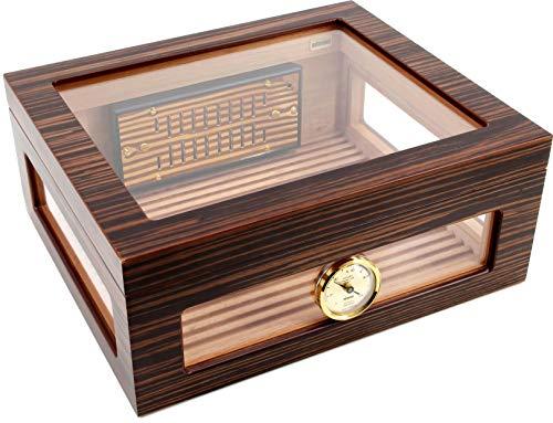 ADORINI Humidor Treviso - Deluxe | per una conservazione di alta qualità dei sigari con coperchio in vetro, impiallacciatura di alta qualità in ebano, colore marrone - 75 sigari.