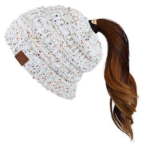 Hatsandscarf CC Exclusives Ribbed Confetti Knit Beanie Tail Hat for Adult (MB-33) (Ivory)