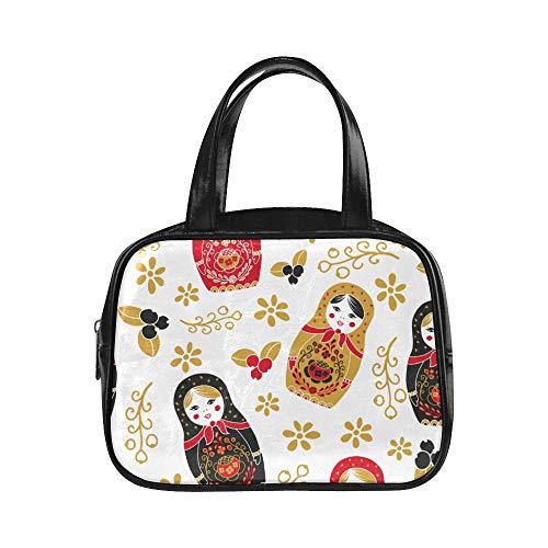 Plsdx Frau taschen russische verschachtelung matryoshka puppe einzigartige handtaschen damen handtaschen pu leder top griff umhängetasche einkaufstasche