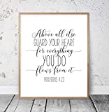 Scripture Wall Art Above All Else Guard Your Heart From Everything You Do Proverbs 4:23 Printable Christian Wall Art Bible Verse Prints Wood Pallet Design Wall Art Sign Plaque with Frame wooden sign