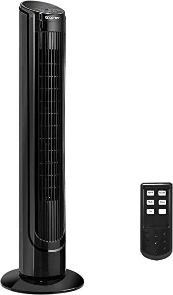 COSTWAY Tower Fan 40 Portable Oscillating Tower Fan 3 Speed Digital Control W Remote Control 7 5 Hour Timer LCD Display Tower Fan For Bedrooms Living Rooms Kitchen Offices 40 Inch