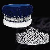 Anderson's Blue Velvet King Crown and Elsa Queen Tiara Royalty Set
