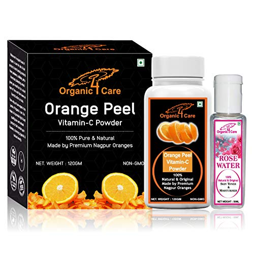 Organic 4 Care orange peel powder for skin whitening and preventing wrinkles -120 gm with Rose water-50 ml