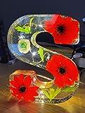 Lampara Letras Luminosas Grandes Con Luces LED y Conexión USB, Altura 15 cm, Letras Decorativas A-Z, Modelo Amarillo Claro con Flores Rojas (C)