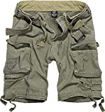 Brandit Salvage Vintage Shorts - Hombre Cortos Cargo B-2001-100% algodón - Verde Oliva - 7XL