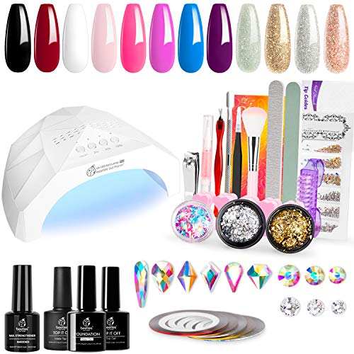 Beetles 12 Colors Home DIY Gel Nail Polish Starter Kit with Light 48W LED Nail Lamp Gel Base Top Coat Cure White Pink Red Gel Polish Glitter Powder Nail Art Rhinestone Gems Manicure Gift Box