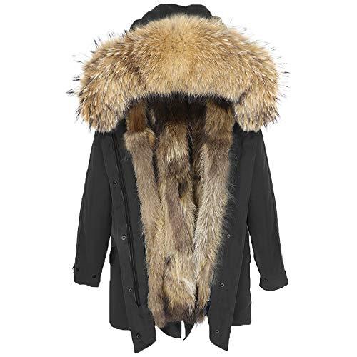 Lea Marie Damen Luxury Parka XXL Kragen aus 100% ECHTPELZ ECHTFELL Jacke Mantel Fuchspelz Innenfutter (XL, Schwarz)