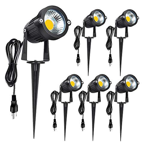 Romwish 5W Outdoor LED Landscape Lights, 120V AC LED Spotlights with Metal Ground Stake, Plug and Play, 3000K Warm White for Garden, Yard, Lawn Decora, Flag Light- 6 Pack
