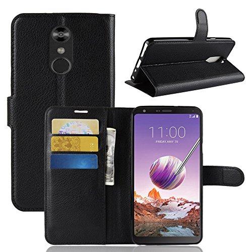 HongMan Handyhülle für LG Q Stylus Hülle, Premium Leder PU Flip Hülle Wallet Lederhülle Klapphülle Magnetisch Silikon Bumper Schutzhülle Tasche mit Kartenfach Geld Slot Ständer, Schwarz